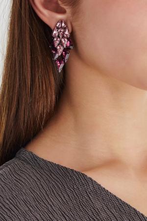 Серьги с кристаллами Ellen Conde. Цвет: розовый, фиолетовый