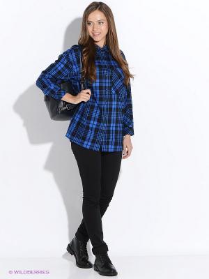 Рубашка Oodji. Цвет: синий