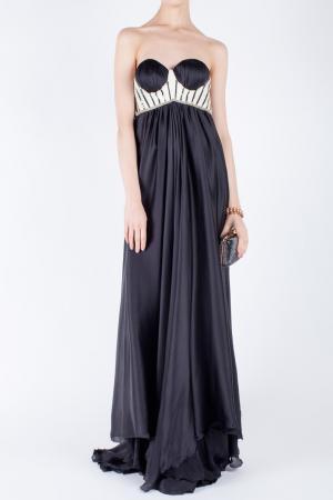Шелковое платье Jay Ahr. Цвет: черно-белый