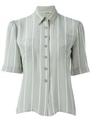Рубашка в полоску с короткими рукавами Jean Louis Scherrer Vintage. Цвет: серый