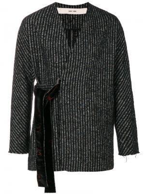Полосатый пиджак с запахом Damir Doma. Цвет: чёрный