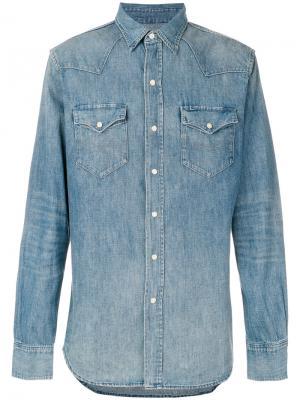 Джинсовая рубашка в ковбойском стиле Polo Ralph Lauren. Цвет: синий