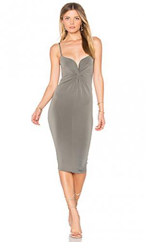 Миди платье с переплетом monroe Nookie. Цвет: серый