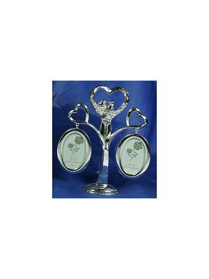 Фоторамка-дерево Пара на 2 фото Русские подарки. Цвет: серебристый