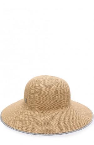 Шляпа с контрастной отделкой Eric Javits. Цвет: бежевый