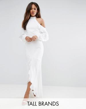 Taller Than Your Average Платье макси с воротником-стойкой, длинными рукавами и оборками TTYA B. Цвет: синий