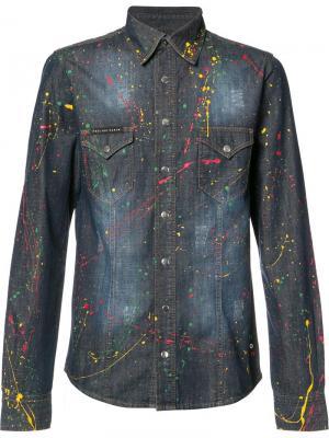 Джинсовая рубашка Odawa Philipp Plein. Цвет: синий