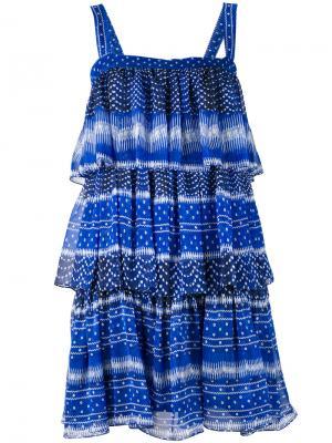 Ярусное платье с оборками Plein Sud. Цвет: синий