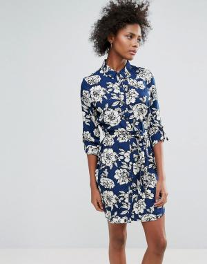 Urban Bliss Платье-рубашка с принтом Yvonne. Цвет: темно-синий