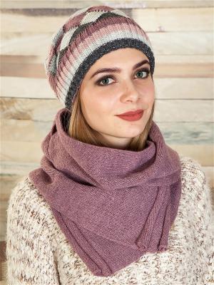 Комплект (шапка, шарф) LORICCI. Цвет: сливовый