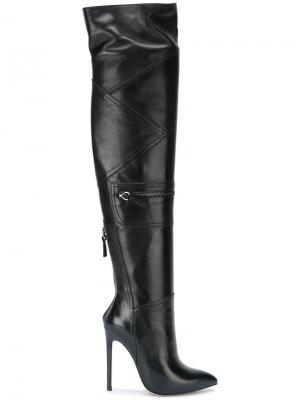 Высокие сапоги с панельным дизайном Gianni Renzi. Цвет: чёрный