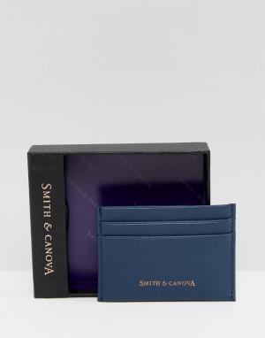 Smith And Canova Темно-синяя кожаная визитница. Цвет: синий