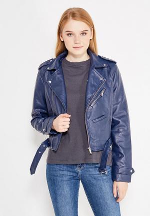 Куртка кожаная Piazza Italia. Цвет: синий