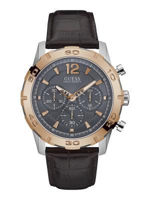 Часы GUESS. Цвет: коричневый,серебристый,красный