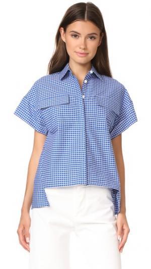 Блуза Sandisfield с заниженными плечами и короткими рукавами Novis. Цвет: королевский/цвет слоновой кости