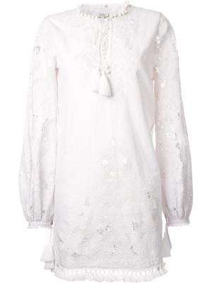 Платье с длинными рукавами и кисточками Talitha. Цвет: белый