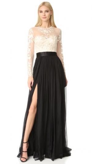 Кружевное вечернее платье с вышивкой Isha Catherine Deane. Цвет: кремовый/черный