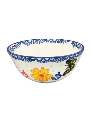 Салатник Бабочки Elan Gallery. Цвет: белый, синий, желтый