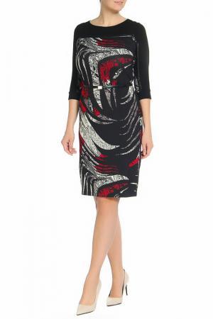 Платье с вырезом горловины-лодочка, пояс ROSANNA PELLEGRINI. Цвет: бело-красный