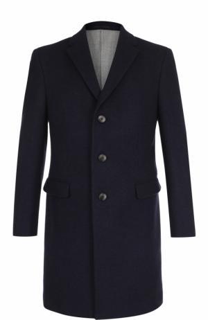 Однобортное шерстяное пальто с отложным воротником Z Zegna. Цвет: темно-синий