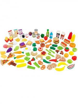 Набор еды Вкусное удовольствие, 115 элементов KidKraft. Цвет: зеленый, светло-желтый, красный