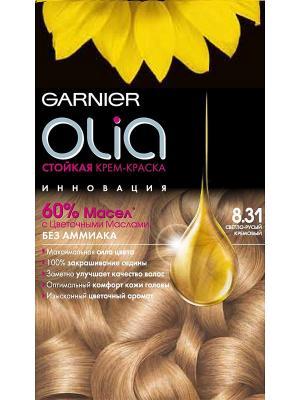 Стойкая крем-краска для волос Olia без аммиака, оттенок 8.31, Светло-русый кремовый Garnier. Цвет: светло-бежевый