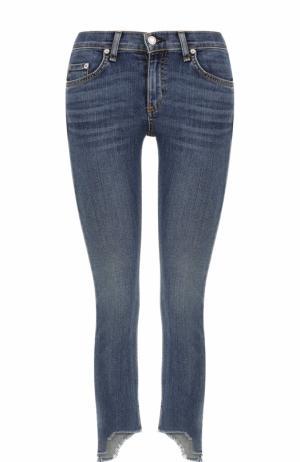 Укороченные джинсы-скинни с потертостями Rag&Bone. Цвет: синий