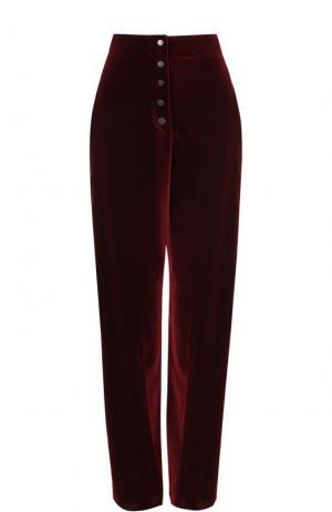 Бархатные брюки прямого кроя с завышенной талией Stella McCartney. Цвет: бордовый