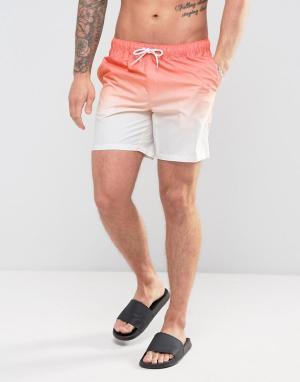 ASOS Оранжевые шорты для плавания средней длины с эффектом деграде. Цвет: оранжевый