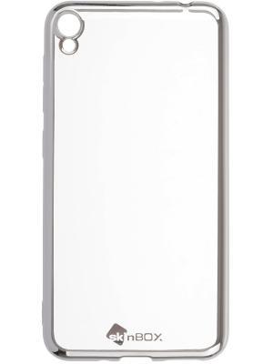 Накладка  skinBOX silicone chrome border 4People для Asus Zenfone Live (ZB501KL). Цвет: серебристый