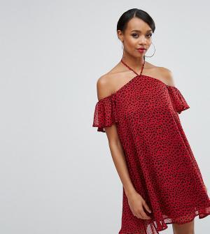 Rare Свободное платье с леопардовым принтом London. Цвет: красный