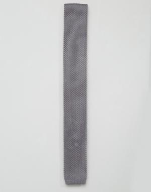 7X Серый вязаный галстук. Цвет: черный