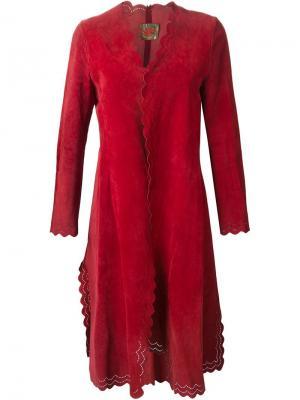 Пальто с фестонами Roberta  Di Camerino Vintage. Цвет: красный