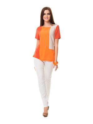 Блузка HELMIDGE. Цвет: оранжевый, белый