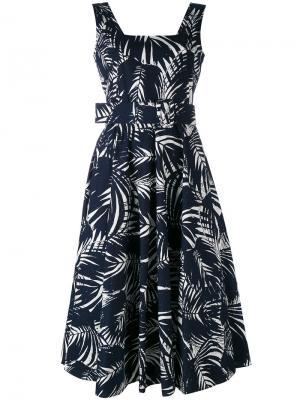 Платье с принтом и поясом Samantha Sung. Цвет: синий