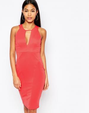 Lipsy Облегающее платье с вырезом капелькой. Цвет: оранжевый