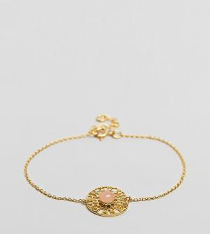 ASOS Тонкий браслет-цепочка из позолоченного серебра с камнем. Цвет: золотой