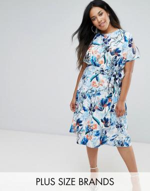Closet Plus Платье миди с открытыми плечами, цветочным принтом и поясом Plu. Цвет: мульти