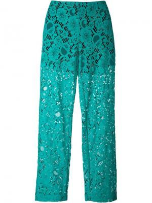 Полупрозрачные кружевные брюки MSGM. Цвет: зелёный