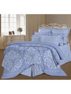 Комплект постельного белья Евро перкаль Бельведер Романтика. Цвет: голубой