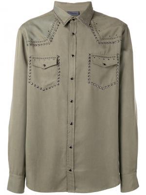 Рубашка с заклепками Laneus. Цвет: зелёный