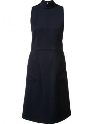 Расклешенное платье с высокой горловиной Gabriela Hearst. Цвет: синий