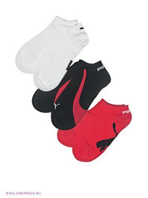 Носки, 3 пары Puma. Цвет: черный, белый, красный