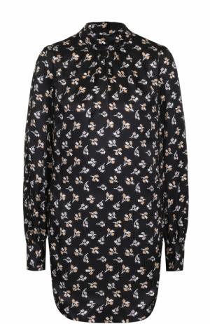 Шелковое мини-платье с воротником-стойкой Marc Jacobs. Цвет: черный