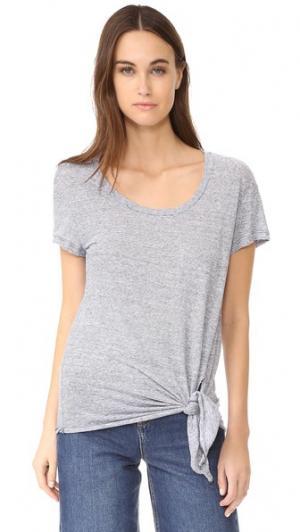 Льняная футболка с завязками спереди Three Dots. Цвет: голубой