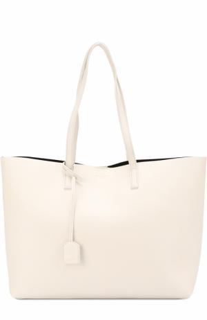 Кожаная сумка-шоппер с косметичкой Saint Laurent. Цвет: белый