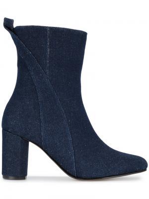 Джинсовые ботинки до середины голени Joan Ganni. Цвет: синий