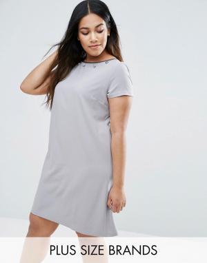 Elvi Платье с декоративной отделкой Plus. Цвет: серый