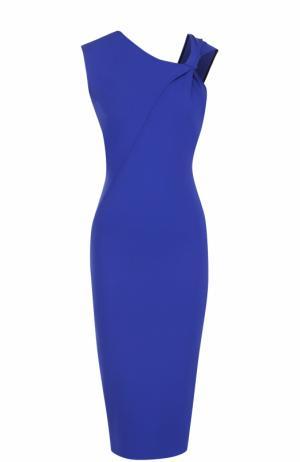 Платье-футляр асимметричного кроя с драпировкой Victoria Beckham. Цвет: синий
