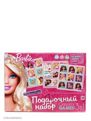 Подарочный набор 3 в 1. Лото, Домино, Мемо. Barbie. Цвет: розовый, белый, фиолетовый